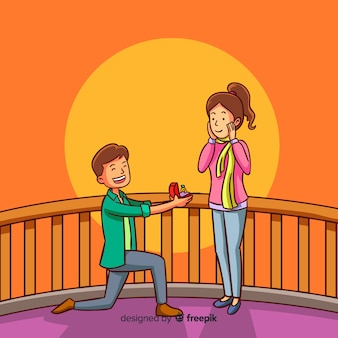 Lovely marriage proposal with cartoon style