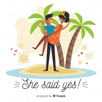Lovely marriage proposal with flat design