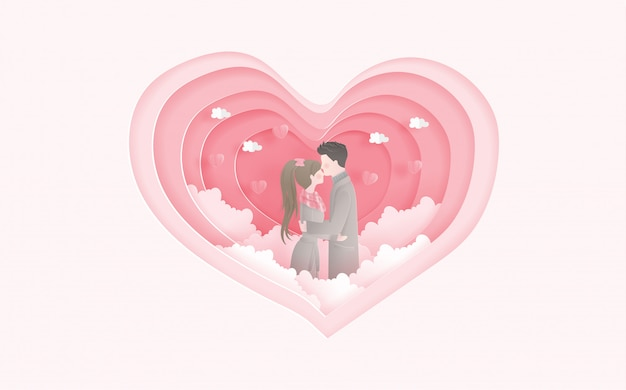 Lovely married couple with heart shape. valentine's card and travel advertising for couple.