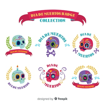 Lovely mexican festivity badge collection with flat design