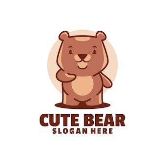 Lovely modern logo of cute bear mascot