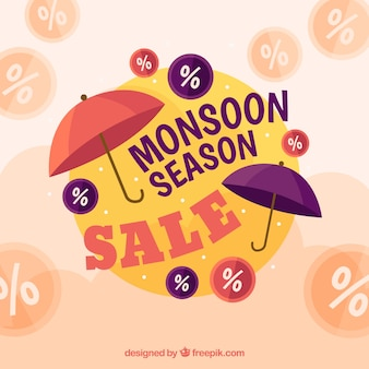 Lovely monsoon sale composition with flat design