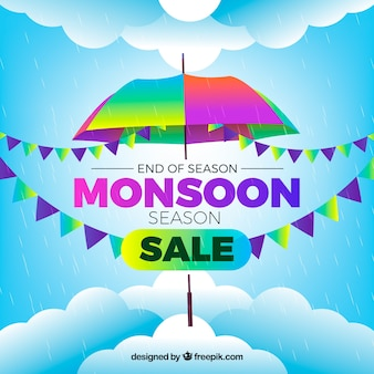 Lovely monsoon sale composition with realistic design