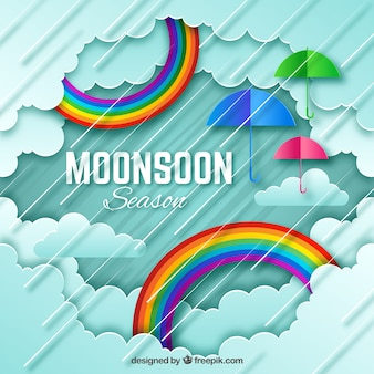 Lovely monsoon season composition with orgami style