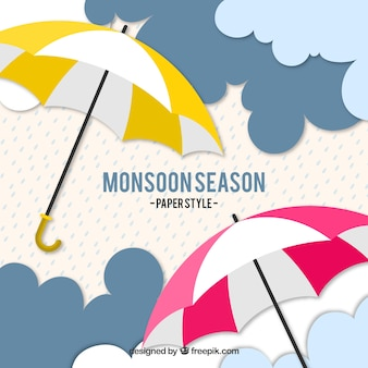 Lovely monsoon season composition with umbrella