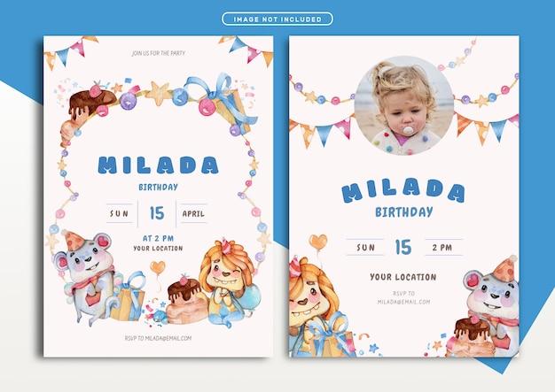 Lovely monster theme birthday invitation card template