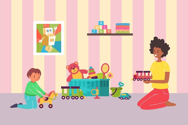 Lovely mother playing with little kid son flat illustration