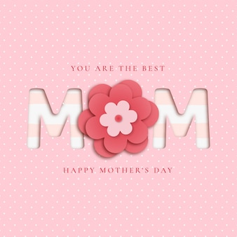 Lovely mother's day background with papercut flowers