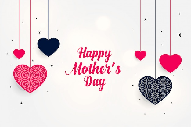 Lovely mother's day greeting with hanging hearts