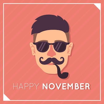 Lovely movember composition with flat design
