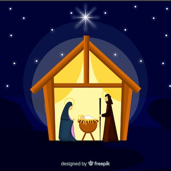 Lovely nativity scene background in flat design