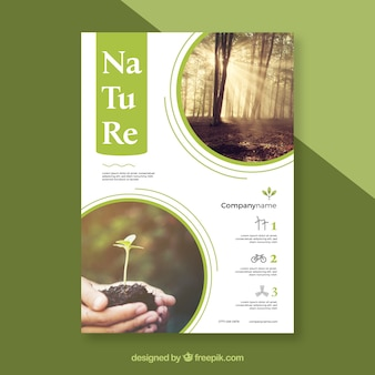 Lovely nature flyer template with modern style