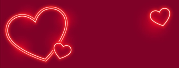 Lovely neon hearts banner with text space