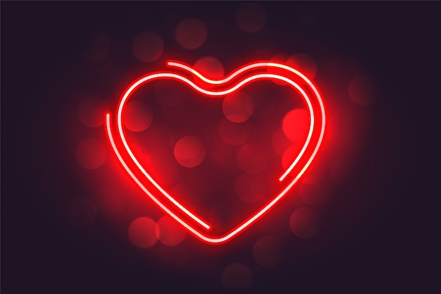 Lovely neon red heart valentines day background