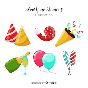 フラットデザインの素敵な新年パーティー要素コレクション
