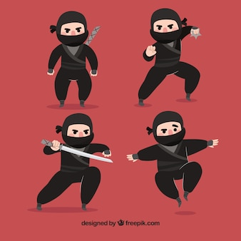 Lovely ninja character collection with flat design