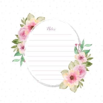 Lovely note card with flowers and dot background