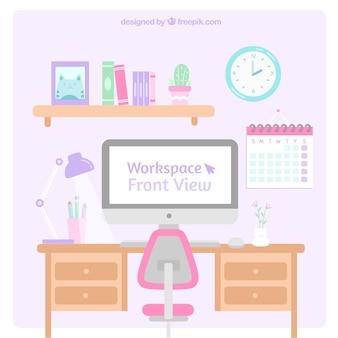 Прекрасный офисный стол с ярким стилем