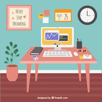 Прекрасный офисный стол с плоским дизайном