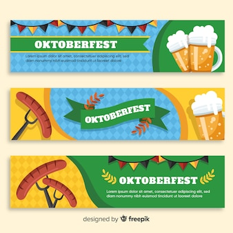Lovely oktoberfest banners with flat design