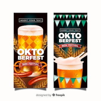 Lovely oktoberfest banners with realistic design