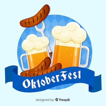 Lovely oktoberfest composition with flat design
