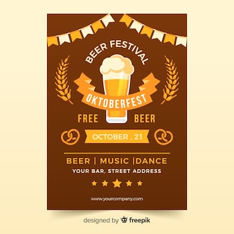 Lovely oktoberfest party poster with flat design