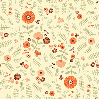 Lovely orange flowers and ferns over warm background