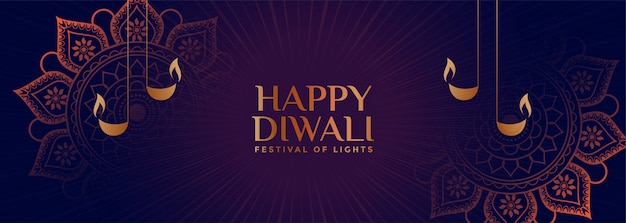 Lovely ornamental style happy diwali banner