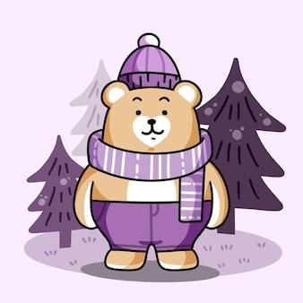 Прекрасный открытый медведь приветствие premium vector doodle illustration