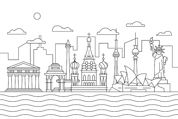 Lovely outline landmarks skyline
