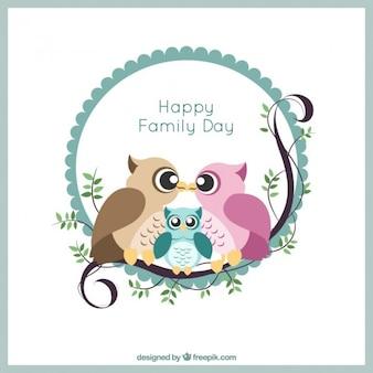 Прекрасные совы семьи день карты