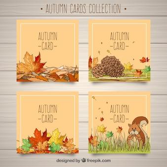 Pacchetto bello di carte di autunno disegnate a mano