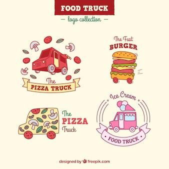 手描きの食品トラックのロゴの素敵なパック