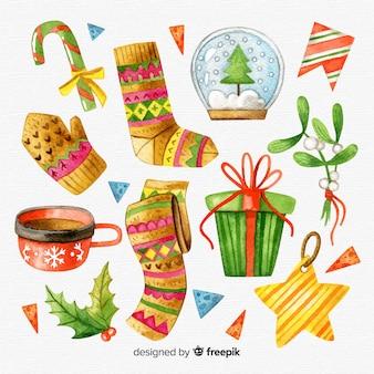 水彩のクリスマスの要素の素敵なパック