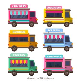 Lovely pack pack of flat food trucks