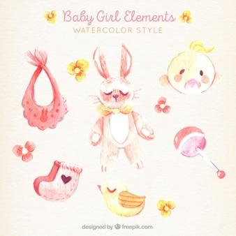 Bella confezione di elementi ragazza acquarello per bambini