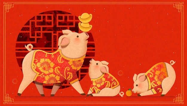 Lovely paper art piggy family on chinese window background