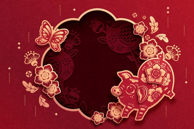 Lovely paper cut background with pig and flowers decorative frame