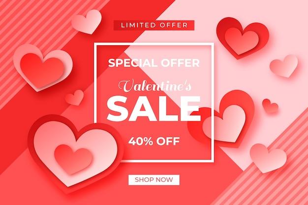 사랑스러운 종이 스타일 발렌타인 데이 판매 벽지