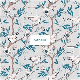 Lovely paradise flower seamless pattern