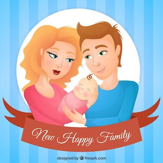 Lovely parents with baby