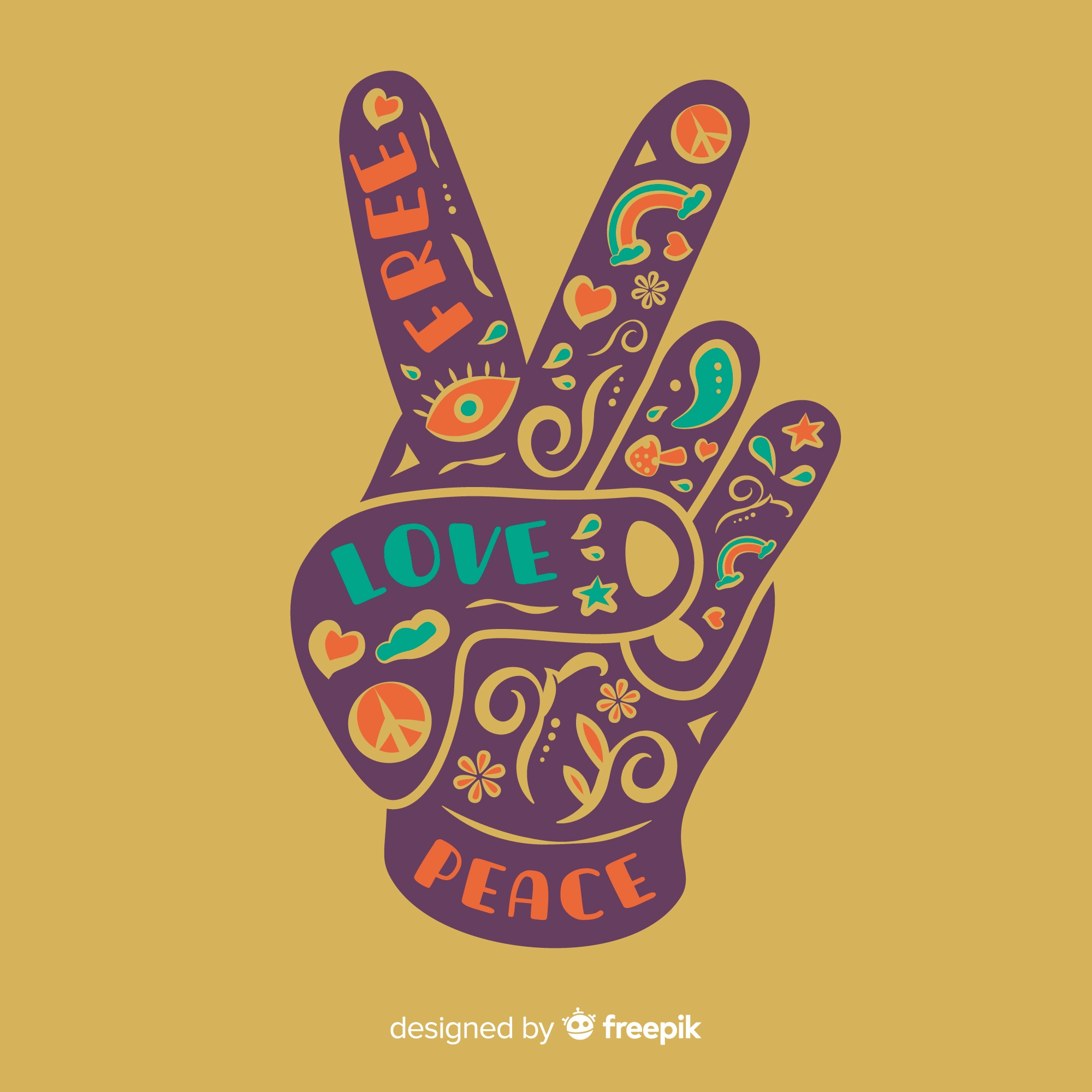 Lovely peace fingers composition with colorful style