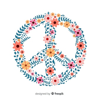 Lovely peace symbol with floral style