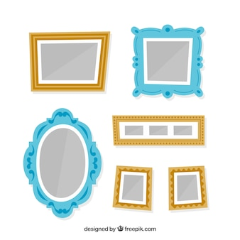 Lovely photo frame collage with flat design