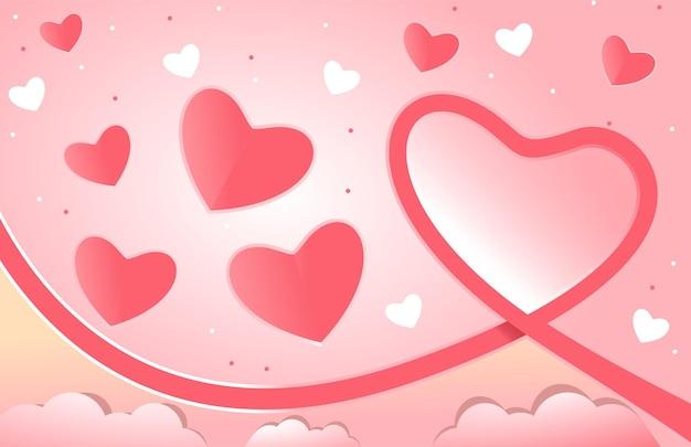 Прекрасный розовый фон с сердечками