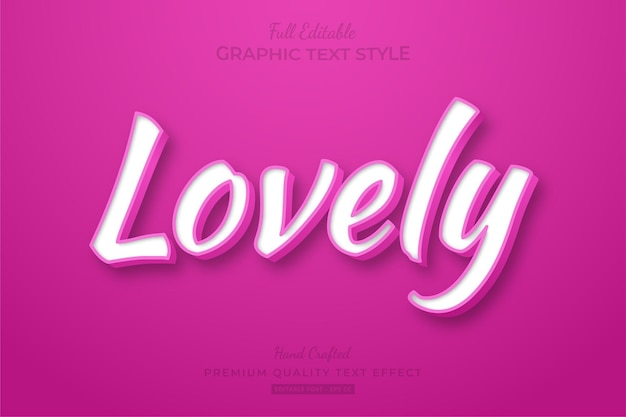 Lovely pink clean editable text effect font style