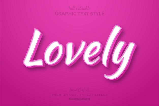 러블리 핑크 클린 편집 가능한 텍스트 효과 글꼴 스타일