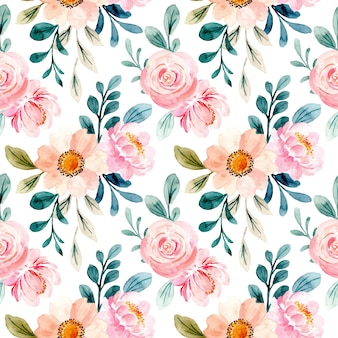 Lovely pink floral watercolor seamless pattern