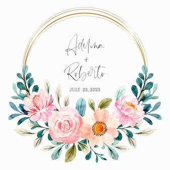 Lovely pink floral wreath watercolor with golden frame